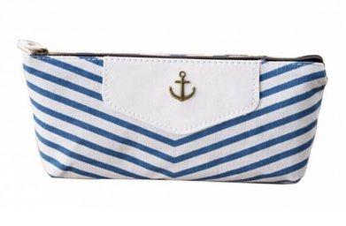 Portable Navy Style Canvas Pencil Pen Case Stationery Storage Bag Pouch Purse,Blue (Stripes Pouch)