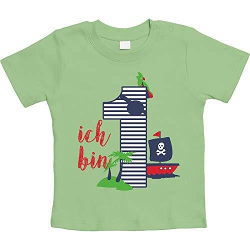 Shirtgeil 1 Jahr Geburtstag Piraten Geschenk Unisex Baby T-Shirt Gr. 66-93 6-12 Monate / 76 Limettengrün - 7. Geburtstags-shirt