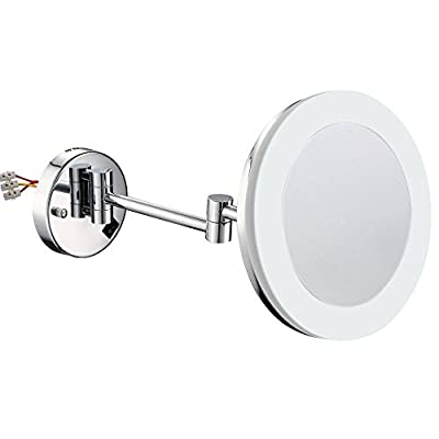 GuRun 8 Inch Wall Mounted Makeup Mirror With Led Light,5X Magnification,Chrome Finish M1806D