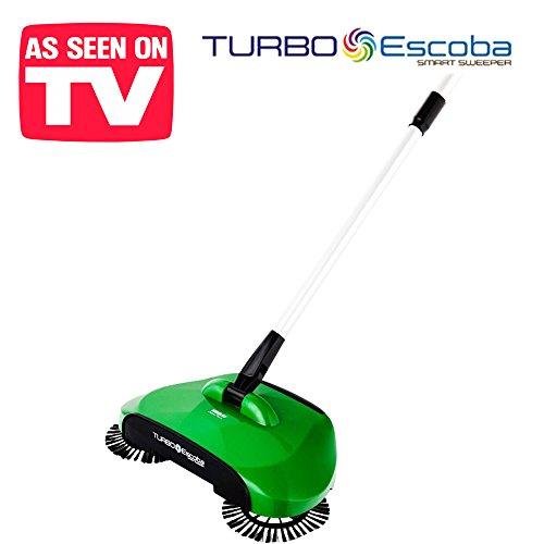L'originale Turbo Smart Sweeper - Scopa rotante a tripla spazzola con movimento ruotante a 360° - senza fili, senza corrente e senza rumore! broom hand max escoba spin eco cyclonic vacuum