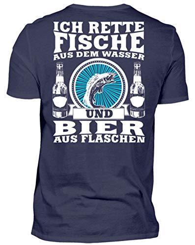 Fischer Shirt · Angeln · Lustiges Geschenk für Angler · Motiv: Ich rette Fische aus Wasser - Herren Premiumshirt -XL-Dunkel-Blau -