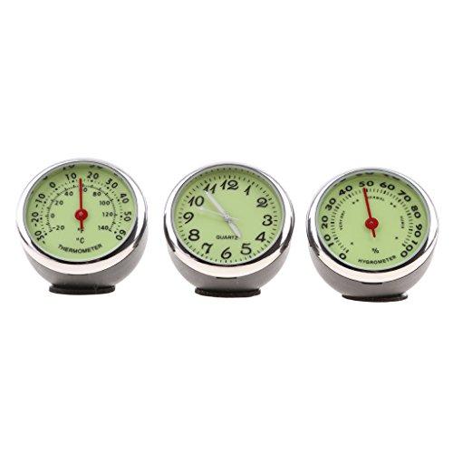 Dolity Auto Uhr Quarzuhr auto Thermometer Hygrometer für Auto-Dekoration - 2
