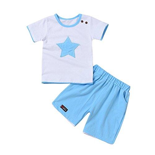 Spiderman Kostüm Kleinkind Jungen (MCYs Kinder Baby Junge Sterne Stickerei Kurzarm T-Shirt Oberteile + kurze Outfit Kleidung Set Jungenkleidung (6Monate, Hellblau))