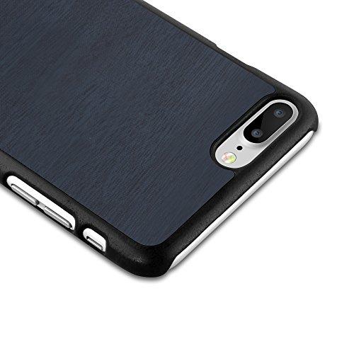 Cadorabo – Hard Cover Slim Case passend für >               Apple iPhone 7 PLUS               < in Holz-Optik und Vintage Design - Case Cover Schutz-hülle Hard Case in WOODY-BLAU WOODY-BLAU
