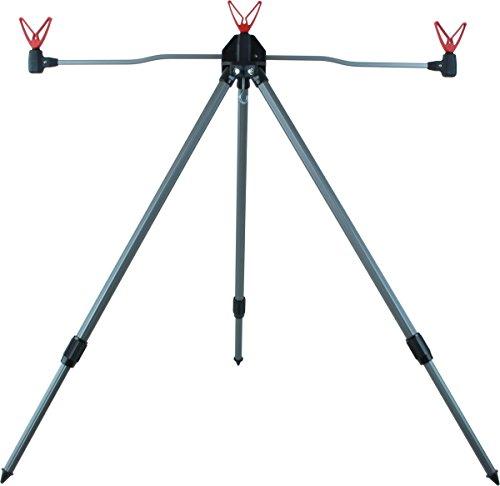 Aluminium Rutenauflage für 3 Ruten mit Teleskopbeinen und V Auflagen in Rot