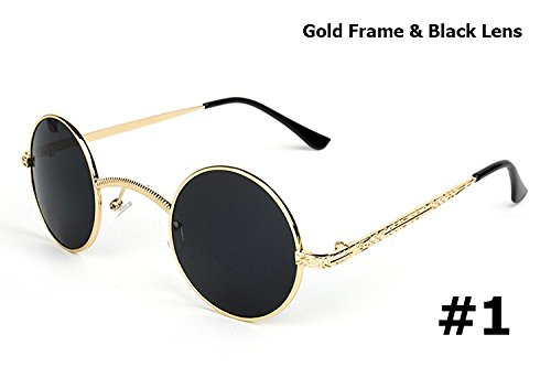Aprigy Mode Gothic Steampunk kleine runde Sonnenbrille Marke Design Vintage Retro Sun Glasses