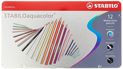 Matita colorata acquarellabile - stabiloaquacolor - scatola in metallo da 12 - colori assortiti