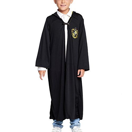 Harry Potter Hermine Robe (Harry Potter Kinder Kostüm Umhang Hufflepuff schwarz - M)
