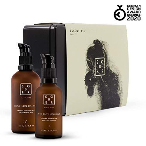 sober® | 2er Pflegeset bestehend aus Feuchtigkeitscreme (After Shave Repair Fluid 50ml) und Reinigungsgel (Gentle Facial Cleanser 100 ml) | Geschenk für Männer und Präsent für jeden Anlass