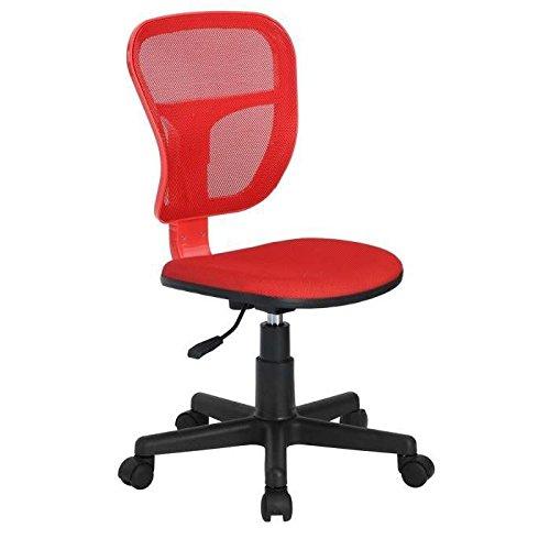 Bakaji Sedia Girevole con 5 Ruote Ufficio Cameretta Scrivania con Schienale Ergonomico Traspirante e seduta Imbottia, Colore Rosso