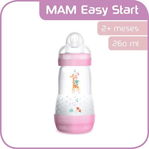 MAM Easy Start Anti-Colic 260 ml, Biberón anticólicos con base de ventilación, biberón MAM autoesterilizable...