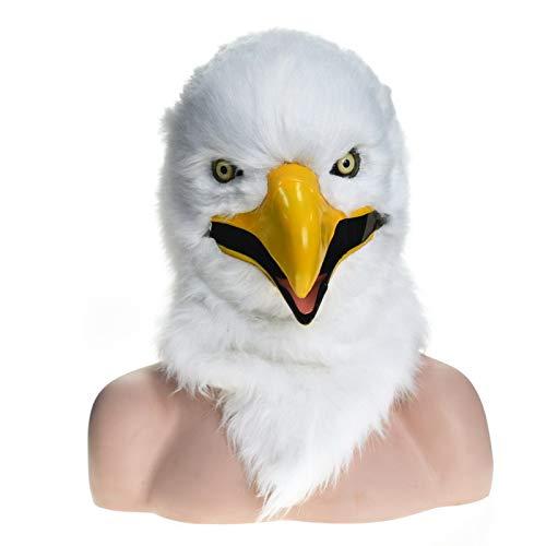 XIANCHUAN Handgemachte Maßgeschneiderte Party Moving Mouth Mask Simulation Fauna Gruselige Maske für Halloween Neuheit Party Requisiten Tierkopf Atmungsaktiv Lustig Lebensechte Kostüm (Weißer Adler)