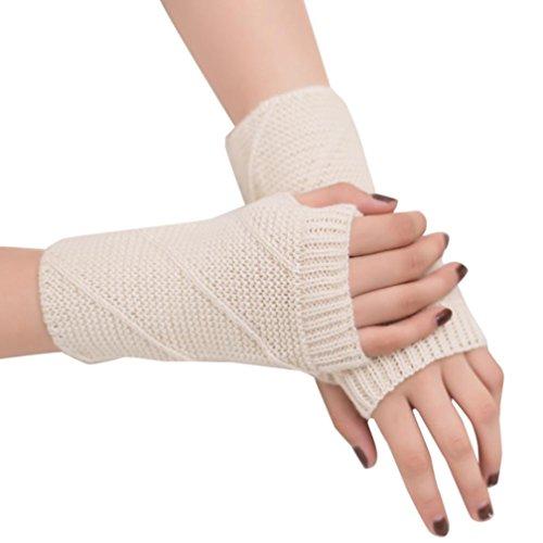bescita Frauen Winter Warm Kabel Lange Stiefel Socken über Knie Schenkel Hohe Strümpfe + Winterhandschuhe Soft Warm Handschuh (Handschuhe, Weiß) -