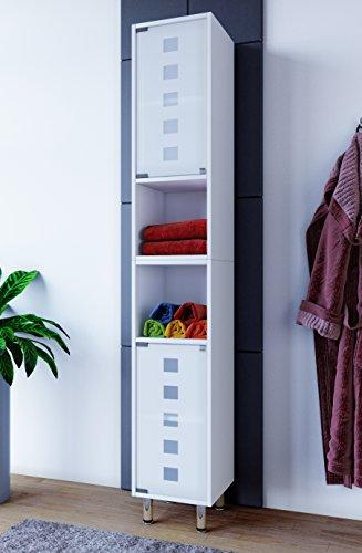 *VCM Badschrank Hochschrank Badregal Badmöbel Glastür Schrank Möbel Darola 180 x 30 x 30 cm Weiß*