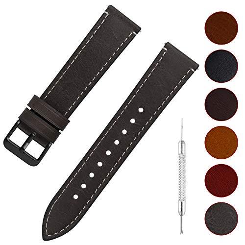 Fullmosa 6 Colori per Cinturino di Ricambio, Wax Pelle Cinturino con Quick Release Pin 14mm 16mm 18mm 20mm 22mm 24mm, 24mm Grigio + Fibbia Grigia fumé