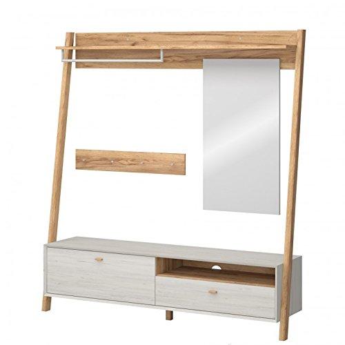 Kompaktgarderobe Aria 2 Garderobe Dielenmöbel Schuhschrank Spiegel Weiß Eiche