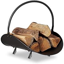 Relaxdays Panier à bûches bois de cheminée porte-revues porte-journaux acier métal HxlxP: 40 x 38 x 48 cm, noir