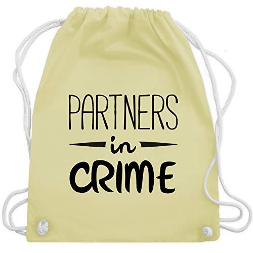 Shirtracer Partner-Look Familie Papa - Partners in crime - Unisize - Pastell Gelb - WM110 - Turnbeutel und Stoffbeutel aus Bio-Baumwolle