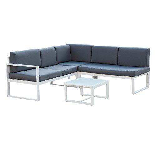 Outsunny - Set Mobili da Giardino Multifunzionale in Alluminio Set Divani, Poltrona e Tavolino