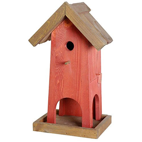 Luxus-Vogelhaus 21119e Große Futterhaus-Nistkasten-Kombination mit Öffnungsklappe, 45 cm hoch, rot/braun