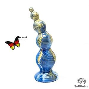 """Design-Dildo""""Wasser"""": kugelige, solide, glatte Skulptur aus geruchlosem Silikon,""""königlich"""" marmoriert (Goldeffekt, Weiß, Dunkelblau mit Farbwechsel)"""