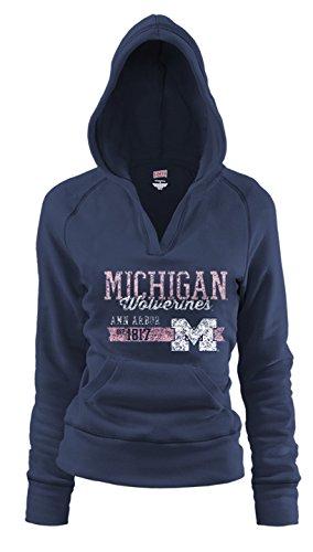 Soffe NCAA Michigan Wolverines Junior Rugby Deep College Logo Fleece Hoodie, Damen, Navy, X-Large Soffe Fleece