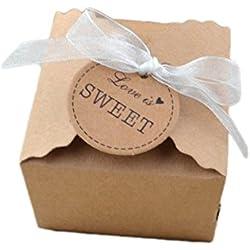 Gespout 100 PCS Rétro boîte Papier Cadeau Kraft d'emballage cadeau Ruban dentelle Cadeau de Noël Boîte à bonbons original Mariage Anniversaire