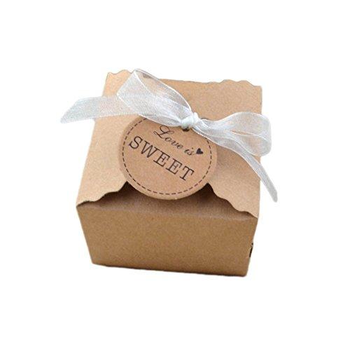 confronta il prezzo Gespout 100 scatole per bomboniere in stile retrò Scatole da regalo di carta kraft con nastro di pizzo Ideali per feste di compleanno anniversario matrimonio e decorazioni Brown Halloween Natale miglior prezzo