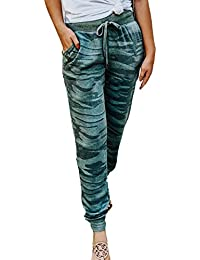 BoBoLily Pantalon Mujer Moda Vintage Cintura Alta Pantalon Deporte  Camuflaje Cómodo Especial Estilo Elegante Pantalones Deporte 5b395f068a28