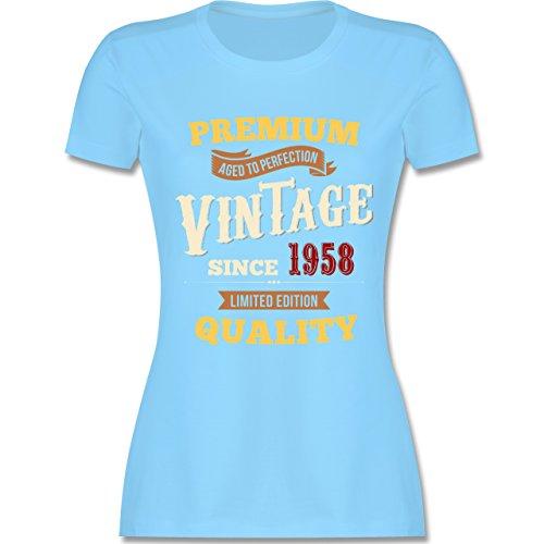 Shirtracer Geburtstag - 60. Geburtstag Vintage 1958 - Damen T-Shirt Rundhals Hellblau