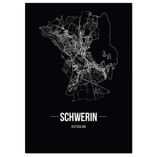 JUNIWORDS Stadtposter, Schwerin, Wähle eine Größe, 30 x 40 cm, Poster, Schrift B, Schwarz