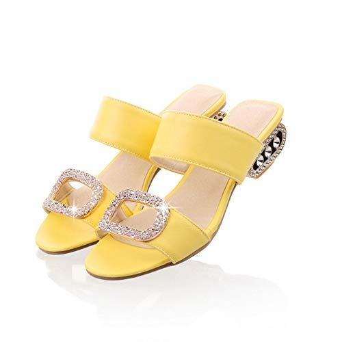 TIFIY Pantolette Damen,Sommer Mode Zehentrenner Freizeit Wasser Kristall Fisch Mund Offene Sandalen Hausschuhe Schuhe Espadrilles (Gelb,EU 40)