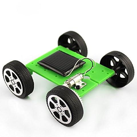 uhoMEy NEW ARRIVE Solar Powered Car Toys Model Mini Assemble DIY Educational Kits Assembly IQ Gadget Hobby Robot (Green)