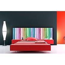 Cabecero Cama PVC Textura Madera Arcoiris 100x60cm | Disponible en Varias Medidas | Cabecero Ligero,