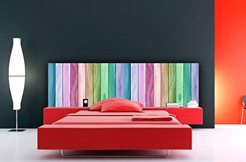 Cabecero Cama PVC económico Textura Madera Arcoiris 100x60cm | Disponible en Varias Medidas | Cabecero Ligero, Elegante, Resistente y Económico