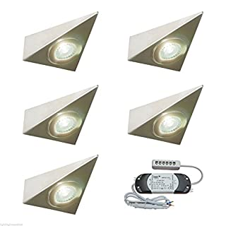5 X KITCHEN UNDER CABINET CUPBOARD LED TRIANGLE LIGHT KIT POLARIS - VERY BRIGHT