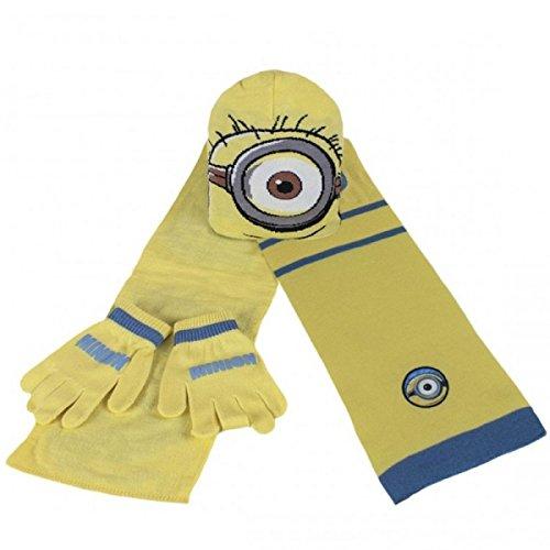 Minions set inverno sciarpa + guanti + berretto 100% originale minion