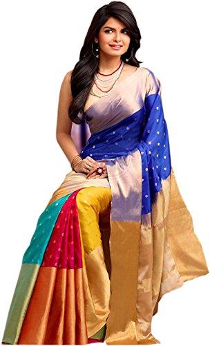 ShreeBalaji Collection Women's Banarasi Silk Saree With Blouse Piece (white)