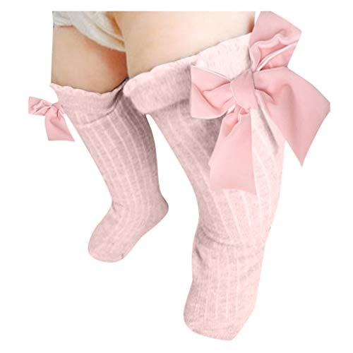 catmoew Kind socken (0-6T) Baby Mädchen Mittlere Strümpfe Warme Socken für Kinder Großer Bogen Kniehoch Lange Samt Baumwolle Atmungsaktive Socken Kind