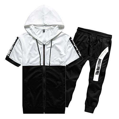 ODRD Clearance Sale Herren Shorts Mode Männer Mesh Patchwork Zwei-Farben-Sport-Beiläufige mit Kapuze kurzärmelige Sieben Viertel Shorts...