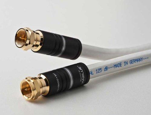 DCSk Satellitenkabel / Koaxialkabel, 5-fach abgeschirmtes Class A+ Koax-Kabel, für digitales Fernsehen, TV / Receiver / Radio, 125 dB, 75 Ohm, 4m weiß