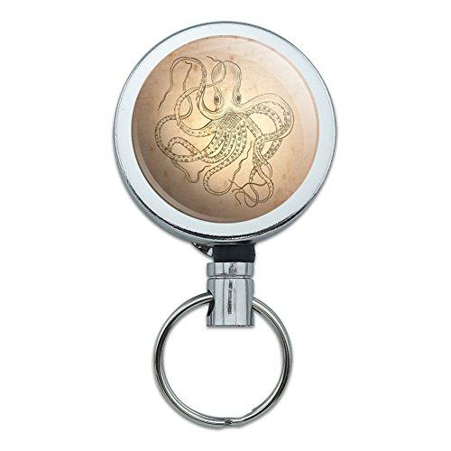 Metall Retractable Reel ID Badge Key Halter mit Gürtelclip Sea Ocean Life Vintage Ink Drawn Octopus