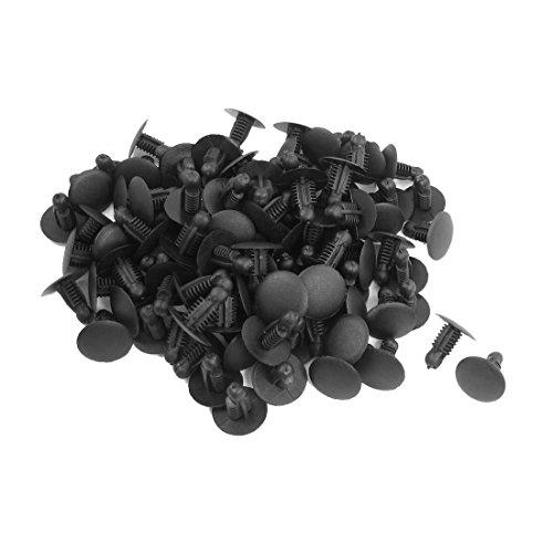 SODIAL(R) 100 Pcs Voiture Plastique Enfoncer fixation rivets agrafes noir pour Trou de 9mmx7.3mm