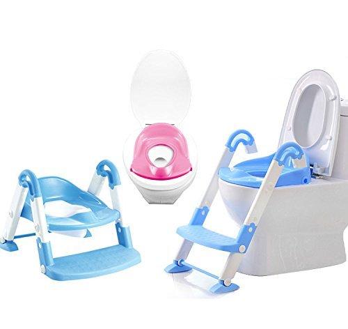 ETiME Toilettentrainer 3 in 1 Kindertoilette Baby-Toilettenleiter Toiletten-Trainer mit Stufen Töpfchen-Trainer Kinder WC Sitz Blau