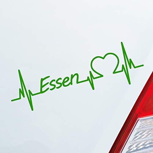 Auto Aufkleber in deiner Wunschfarbe Essen Herz Puls Stadt City Sticker Liebe Love ca. 19 x 6 cm Autoaufkleber Sticker