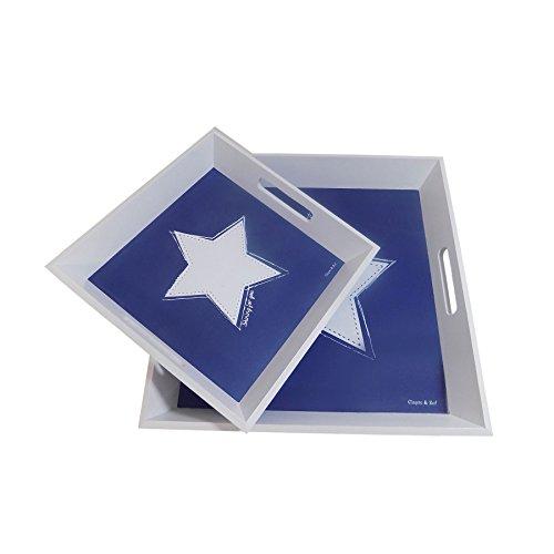 2 x brillant pour vous étoile Blanc Bleu 30 x plateaux en bois 30 cm & 40 x 40 cm