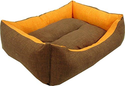 iOn Cama cuna para perro o gato, bicolor marrón y naranja, 65x55 cm