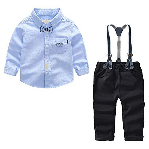 Meijunter Säugling Kleidung Set - Volltonfarbe Lange Ärmel Formelles Hemd + Hose + Straps Baby Junge Gentleman Set 0-5 Jahre alt - Säuglings-baby-formel