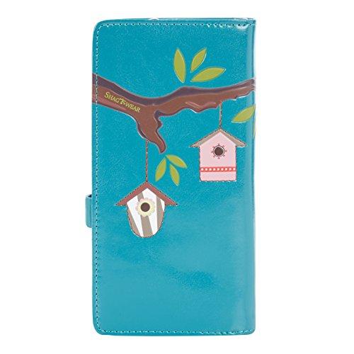 Shagwear portafoglio per giovani donne , Large Purse : Diversi colori e design: casetta uccellini turchese/ Bird Houses