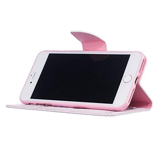 """MOONCASE iPhone 7 Plus Coque, [Don't Touch My Phone] Modèle Housse Pochette en Cuir Etui à rabat portefeuille [Porte-cartes] TPU Case avec Béquille pour Apple iPhone 7 Plus 5.5"""" Giraffe"""